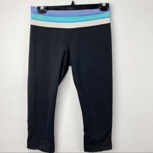 Lululemon cropped leggings with striped waist band